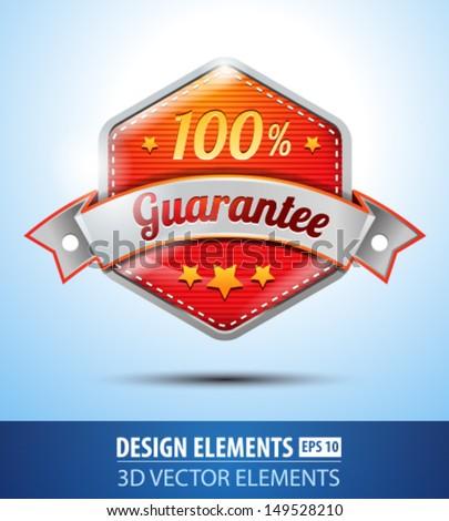 Vector 100% Guarantee label. Modern guarantee glossy icon. Red label. Silver ribbon label. - stock vector