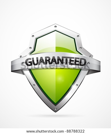 Vector guaranteed shield icon. Green color - stock vector
