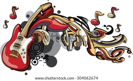 Vector guitar & arrows graffiti - stock vector