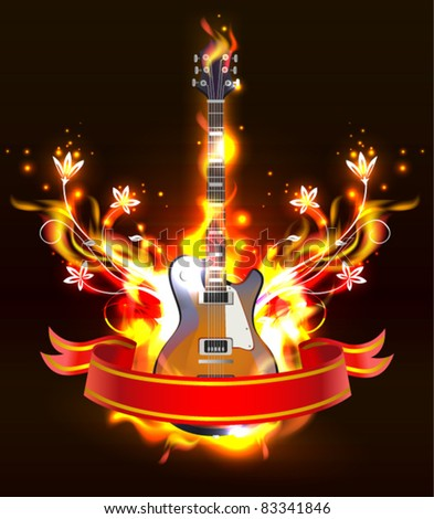 Vector Guitar in fire Isolated on Black Background, eps 10 - stock vector