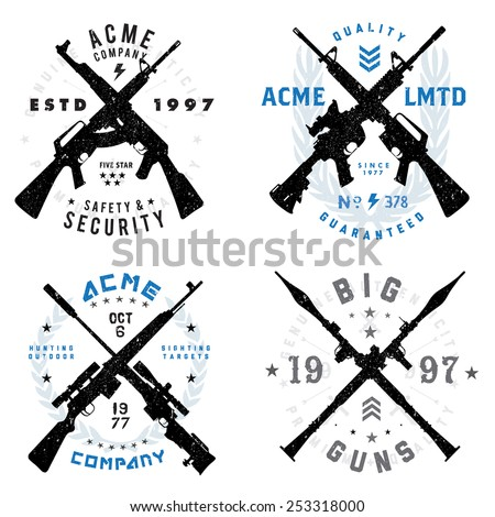 Vector Gun Badges Set. All pieces are separated and easy to edit.  - stock vector