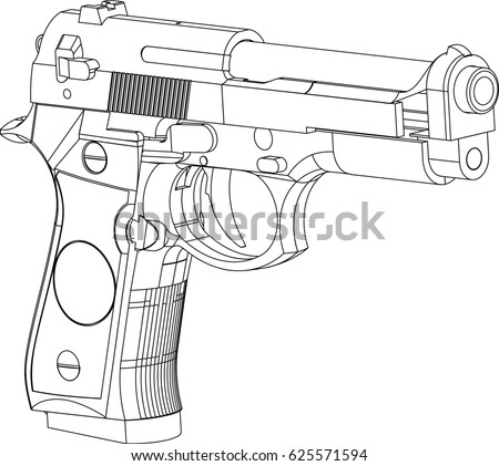 Pistool Kleurplaat Vector Gun Isometric Line Drawing Stock Vector 625571594