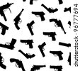 Vector guns set seamless pattern - stock vector
