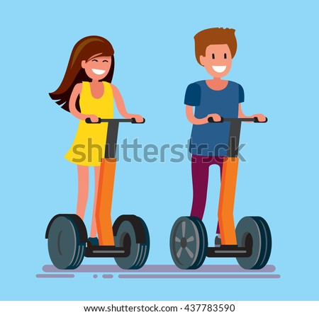 vector guy and girl ride electric scooter outdoor - stock vector