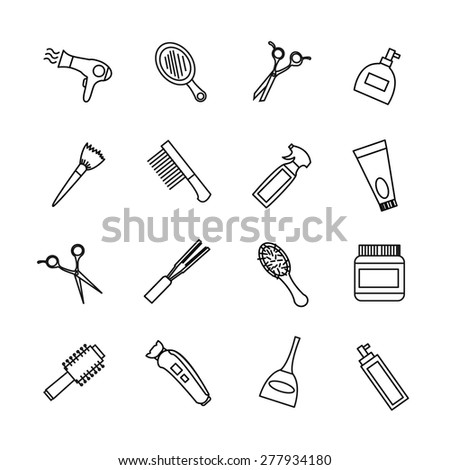 vector hairdresser barber tools equipment dark grey color outline icons set white background
