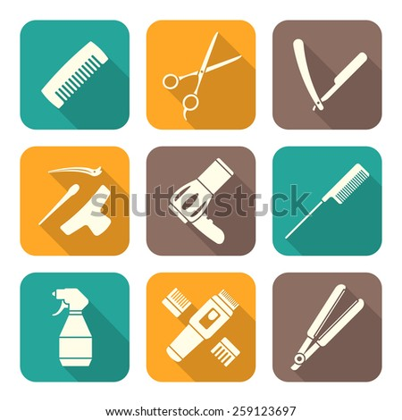 vector hairdresser barber tools equipment white color flat design icons set long shadows