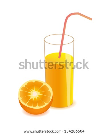 vector half orange and orange juice on glass isolated on white background