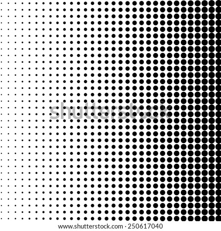 Vector halftone dots. Black dots on white background. - stock vector