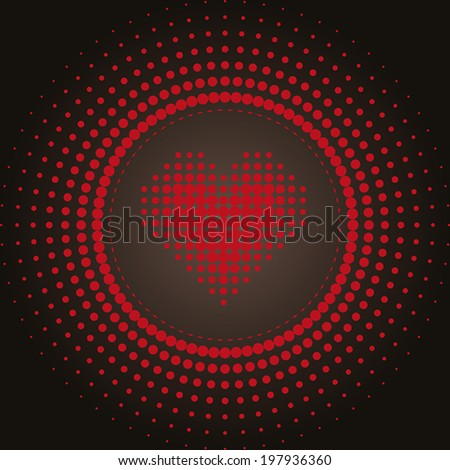 Vector halftone dots in a circle with a heart in the center. Red on black. - stock vector