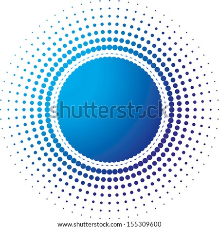 Vector halftone dots in the form of a circle filled with a gradient from blue to dark blue - stock vector