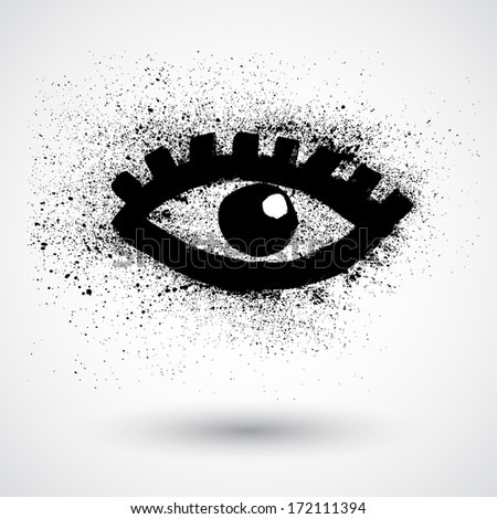 Vector halftone eye shape for backgrounds and design - stock vector