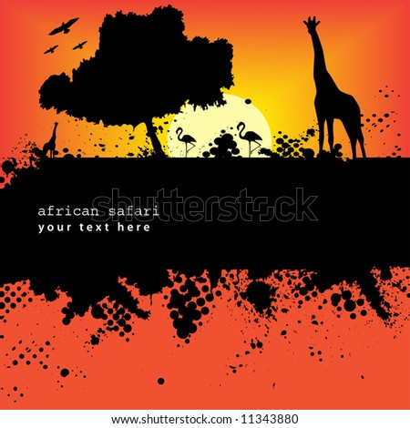 Vector - Halftone ink splat grunge background with african safari theme. - stock vector