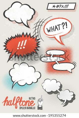 Vector Halftone Speech Bubbles. Halftone pattern speech bubbles for designs. Layered vector illustration. - stock vector