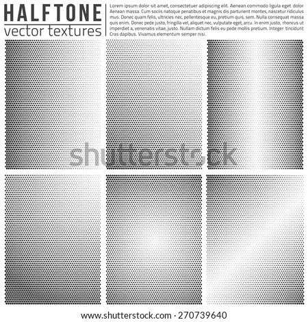 Vector halftone textures set. Analog halftone structure. Overlay vector abstract textures. Abstract vector background. Halftone vector structure. Vector design elements. Dots vector patterns - stock vector