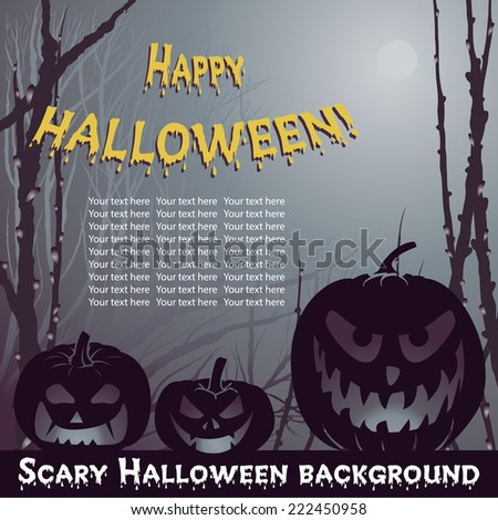 Vector Halloween background with scary pumpkins in night forest