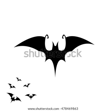 Vector halloween bat icon vector bat silhouette isolated on white