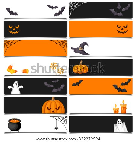 Vector Halloween black, orange and white web banners with jack-o-lanterns, bats, cauldron, nets, ghosts and candies. - stock vector