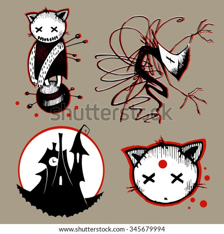 Vector halloween black, white and red images: voodoo cat toy, scary ghost in mask, creepy castle silhouette and moon, head of a dead cat on grey background with bloody drops - stock vector