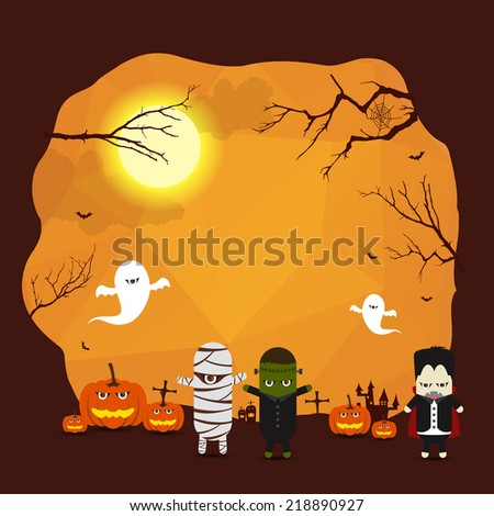 Vector Halloween border background for design with monster ghost mummy Dracula