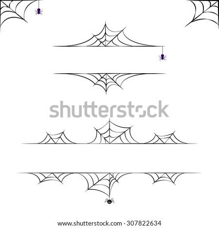 Vector halloween borders collection. Elements for design. - stock vector