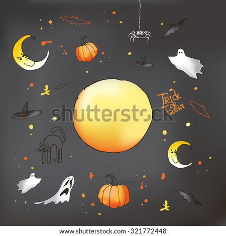 Vector Halloween card on grey background. Pumpkin, ghost, bat and other items on Halloween theme.