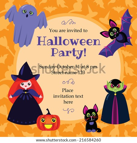 Vector halloween card with cute little witch, black cat, pumpkin, ghost, vampire and bat. Some blank space for your text included. - stock vector