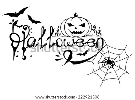 Vector Halloween card with text, bats, scary pumpkin, spider web in black and white colors