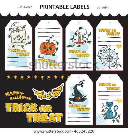 Vector Halloween collection of printable gift tags, labels, stickers. Trick or treat little gift cards. Doodle sweet elements, gravestone, pumpkin head, candlestick, spiderweb, witch hat, magic cat
