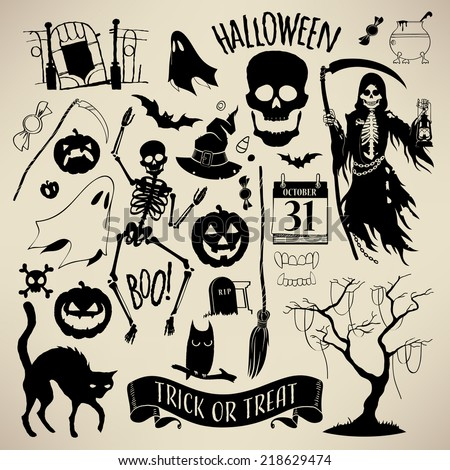 Vector halloween decoration set | Halloween design elements | Everything for decorating your halloween flyers, posters, greeting cards and banners  - stock vector