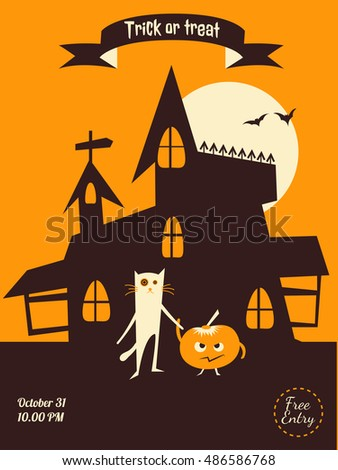 vector halloween flyer dracula castle cat and pumpkin illustration for party invitation greeting - Halloween Invitation Verses