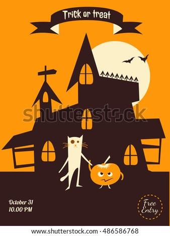 vector halloween flyer dracula castle cat and pumpkin illustration for party invitation greeting - Halloween Invitation Verses