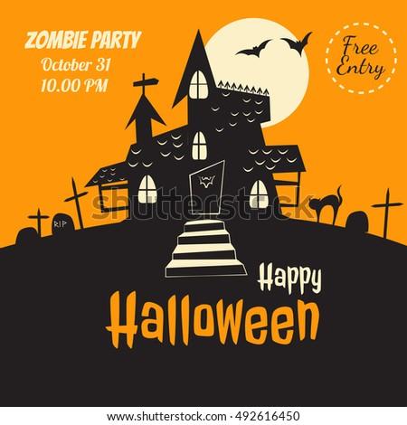 vector halloween flyer dracula castle illustration for party invitation greeting card web design - Halloween Invitation Verses