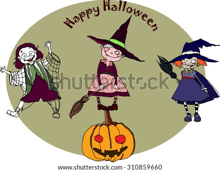 vector Halloween hand drawing characters for party design