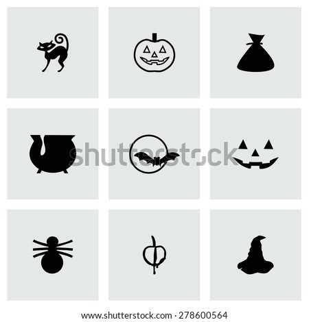 Vector Halloween icon set on grey background - stock vector