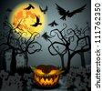Vector Halloween illustration with full Moon, Jack O'Lantern, forest and crows - stock photo