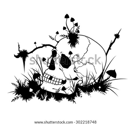 vector Halloween illustration with skull  and mushrooms in black and white colors - stock vector