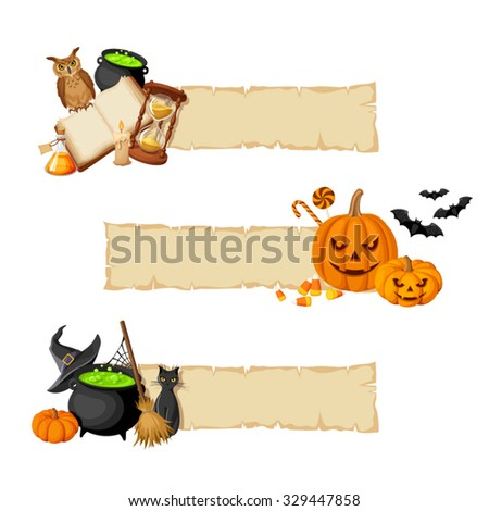 Vector Halloween magic banners with book, cauldron, hourglass, owl, jack-o-lanterns, bats, cat, broom, pumpkin and witches hat. - stock vector