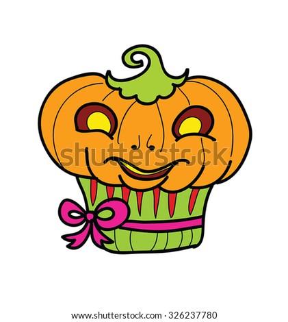 Vector Halloween muffin with pumpkin. Retro cartoon Halloween character - funny jack-o-lantern as cupcake illustration. Eps 8. - stock vector