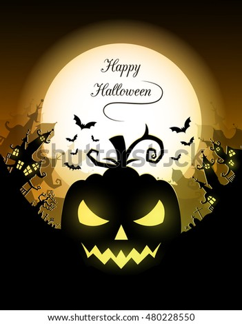 Vector Halloween night background with pumpkins scary face and creepy city. Perfect for greeting card, flyer, banner, poster templates and invitations.