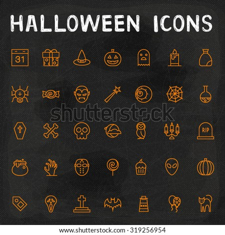 Vector Halloween Outline Icons - stock vector