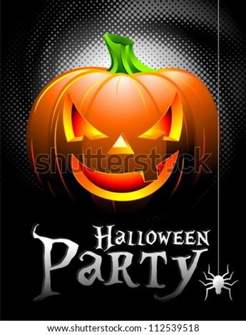 Vector Halloween Party Background with Pumpkin. - stock vector