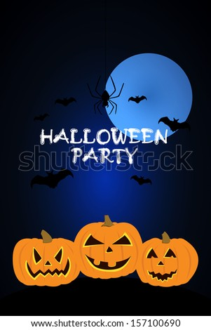 Vector Halloween Party Background with Pumpkin,Bats,Spider on a moon background