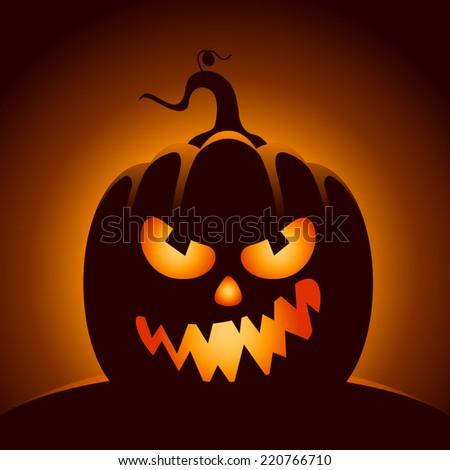 Vector Halloween pumpkin character in dark background - stock vector