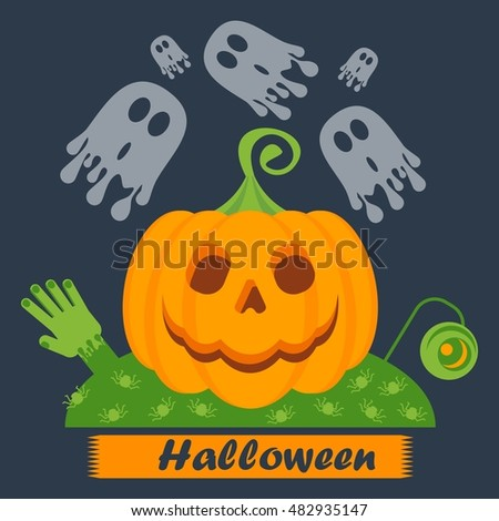 Vector Halloween pumpkin face glowing on black background. Halloween kids party poster. Design elements for advertising, promotion. Flat cartoon illustration. Objects isolated on white background.