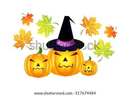 Vector halloween pumpkins with leaves isolated over white background - stock vector
