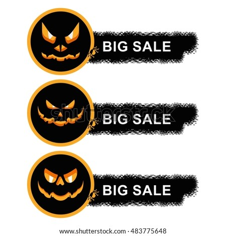 Vector halloween sale sticker with pumpkin. Design elements for advertising and promotion. Flat cartoon illustration. Objects isolated on white background.