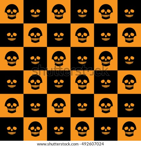 Vector Halloween seamless checkered pattern with skulls. Orange and black colors.