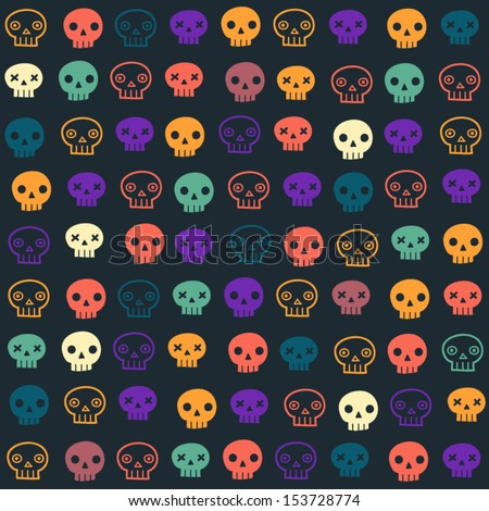 Vector halloween seamless patterns. Cartoon skulls. Halloween elements for scrap-booking. Hand drawn vector illustration.  - stock vector