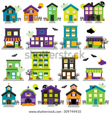 Vector Halloween Town with Haunted Houses, Shops, School, Church and Buildings - stock vector