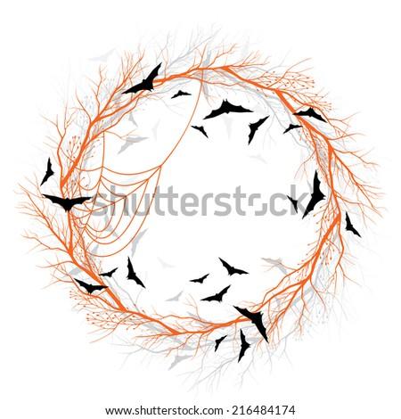 Vector Halloween wreath with pumpkin and bats - stock vector